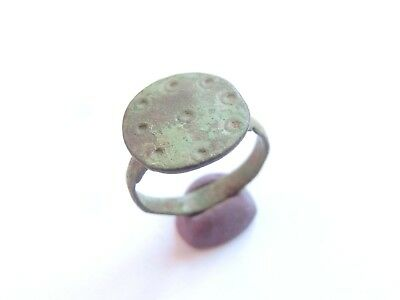 Ancient ROMAN Bronze Ring EVIL EYE Motif ENGRAVED - US size 7 > WEARABLE!