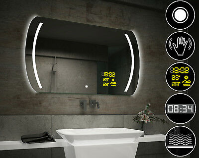 LED Illuminated Bathroom Mirror | Switch | LED Clock & Weather Station S2 | L67