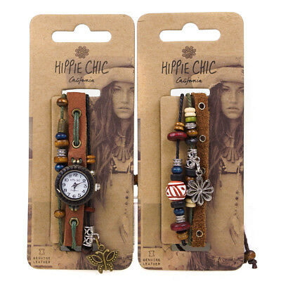 Hippie Chic Boho Ladies Leather Charms & Wooden Beads Watch & FREE Bracelet Set