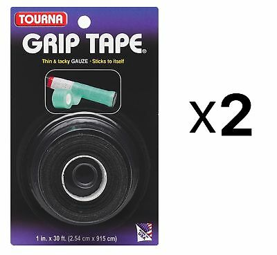Unique Tourna Tennis Racquet Grip Gauze Tape-Black-1in x 30 Ft-Badminton (2Pack)