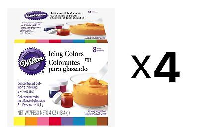 Wilton Set Of 8 Icing Colors Cake Decorating Fondant And Frosting .5oz (4-Pack)
