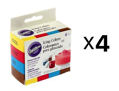 Wilton Primary Colors, Set Of 4 Cake Decorating Frosting Food Coloring (4-Pack)