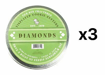 Fox Run Diamond Shaped Cutters Cookie Pastry Dough Molds 6-Piece (3-Pack)