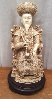 Vintage Chinese Emperor Thrones Ivory Colored Resin Wood Base Statue Figure
