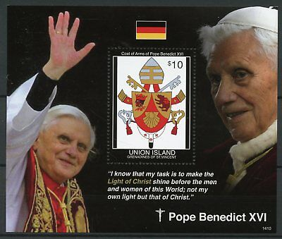 Union Island Gren St Vincent 2014 MNH Pope Benedict XVI 1v S/S Coat Arms Stamps
