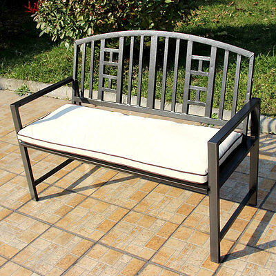 Outdoor Garden Furniture 2 Seater Steel Bench Metal Patio Decking Steel Cushion