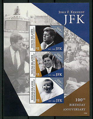 Young Island Gren St Vincent 2017 MNH JFK John F Kennedy 100th 3v M/S II Stamps