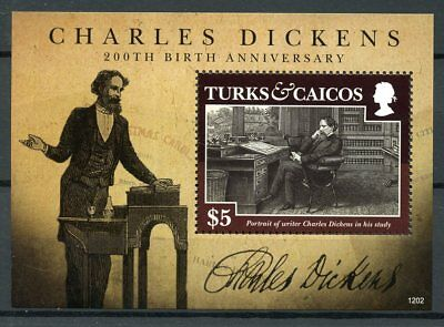 Turks & Caicos 2012 MNH Charles Dickens 200th Birth 1v S/S Writers Stamps