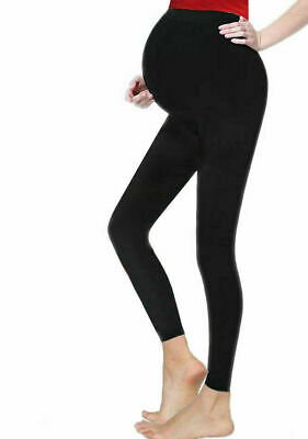 Crazy Chick Women Maternity Full Length Black Cotton Leggings Sizes;8-20