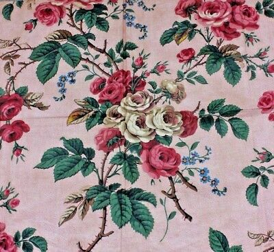 "French Antique Rose Printed Cotton Glazed Chintz Sample Fabric c1860~17""L X 32""W"