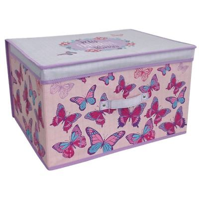 50cm Pink Butterfly Jumbo Storage Chest Pop Up Foldable Box Toys Girls Bedroom