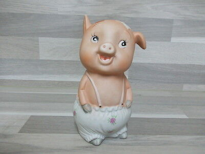 Vintage piggybank Money box porcelain no stopper pig with flower trausers