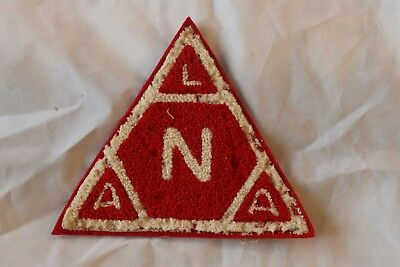 Vintage Chenille Patch Red White Triangle LNAA