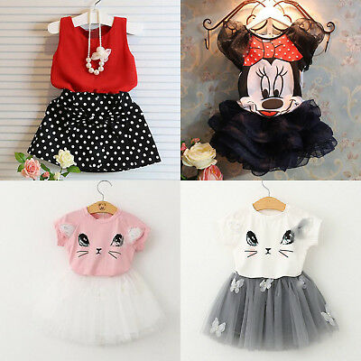 Toddler Kids Baby Girls Outfits Clothes T-shirt Tops + Tutu Dress Skirt 2Pcs Set