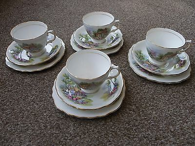 "Royal Vale Vintage Bone China Cup Saucer Plate Trio x 4 ""Cottage Garden"" 7382."