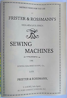 Frister & Rossmann Transverse shuttle(boat type)Sewing Machine Manual Late1800's