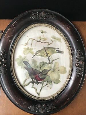 Antique Framed Silk Painting Birds  Oval 8X10