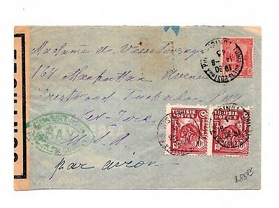 """TUNISIE Cover TO US """" P.A.V """"  GREEN CANCEL  CENSORED  COLIS POSTAUX LOT (TUN09)"""