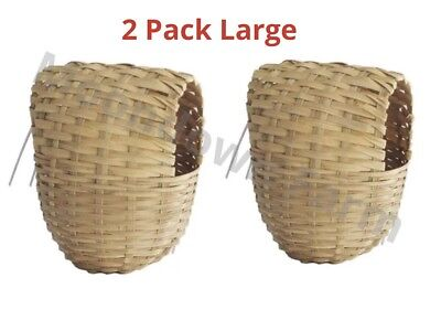 2 x Finch Nest Box Wicker With Hooks to Back for Exotic Finch Cage Large 11x15