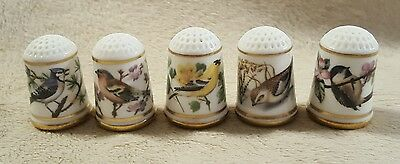 Lot of 5 Franklin Porcelain Collectible Sewing Thimbles birds
