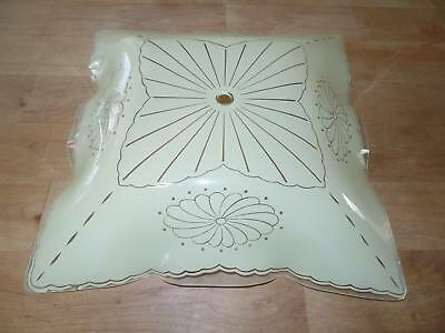 Ceiling Light Fixture Shade Glass Frosted Yellow Pattern Floral Scallop Dots Vtg