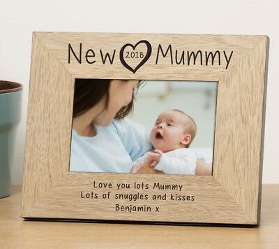 Personalised New Mummy Daddy Wooden Photo Frame Baby Heart 6x4 Newborn Picture