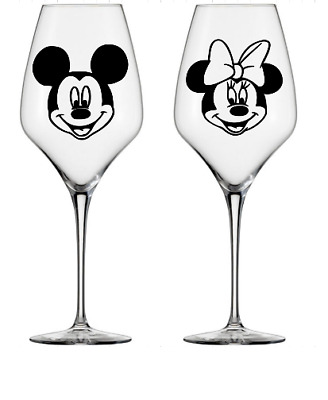 Mickey or Minnie mouse faces Disney vinyl decal stickers wine glass, mug, bauble
