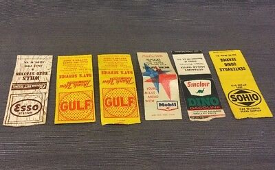 6 Vintage Gasoline Advertising Matchbooks Esso Gulf Mobil Sinclair Sohio