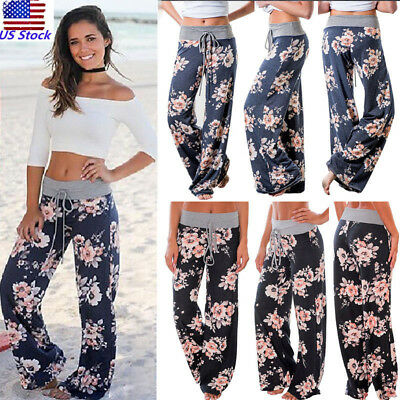USA Women Floral Printed Drawstring Loose Pants Casual Comfortable Yoga Trousers