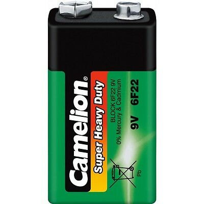 Battery Zinc Carbon Green Camélion :9V 6F22 6V 2 blisters purchased = 1