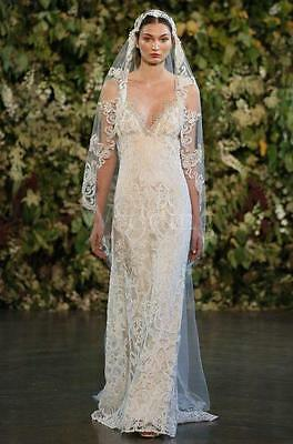 """Claire Pettibone """"Faith"""" Wedding Gown ~ Ivory Lace over Platinum Silk ($3,950)"""