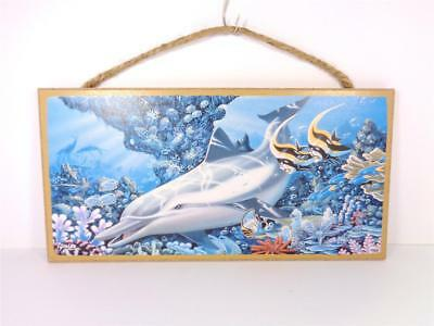 Nautical Diving Dolphin On Coral Reef Sea Life Decorative Beach Bar Wall Sign