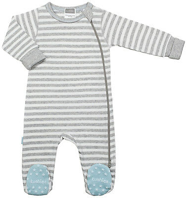 789eb8067 Kushies Baby Classic Grey Cotton Side Zipper Sleeper Blue Non-Slip Feet  533554
