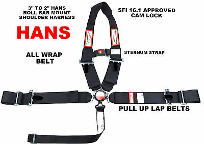 U 5 Point Racing Harness With Sternum Strap & Neck Device Sfi 16.1 Black