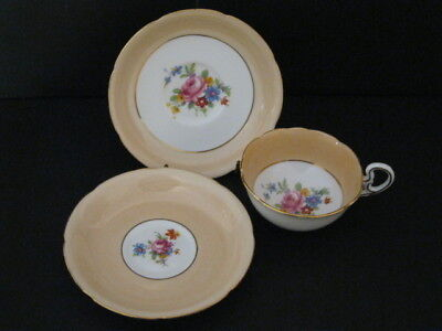 ABJ Grafton China Peach w/Roses Tea Cup and 2 Saucer Set Made in England