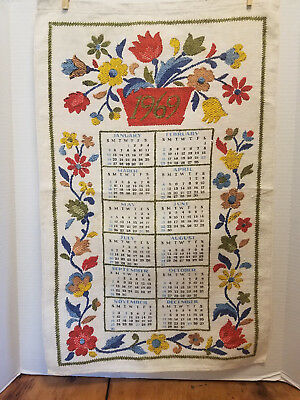 "1969 Calendar Towel Linen Vintage Kitchen Towel Amish Dutch Tulips 26"" x 16"""
