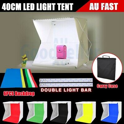 40cm Led Light Room Photo Studio Lighting Tent Kit Cube Soft Box &6PCS Backdrops