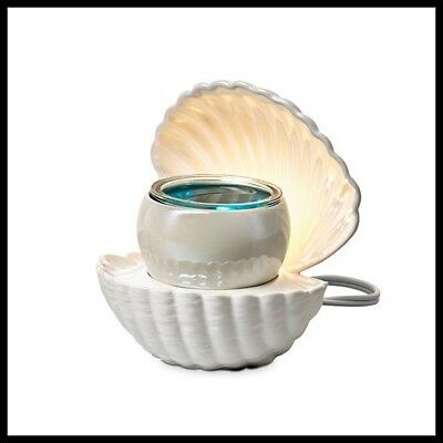 PartyLite ELECTRIC SCENTGLOW AROMA MELTS PEARL OYSTER SEA SHELL WAX WARMER