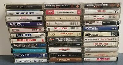 Large Vintage Lot Of 33 Cassette Tapes Rock Country 89's