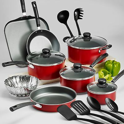 18 Piece Cookware Set Nonstick Pots And Pans Red Dishwasher Safe