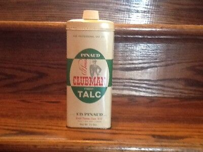 VINTAGE PINAUD CLUBMAN TALC TIN 11oz PROFESSIONAL BARBERSHOP PARIS * NY * LONDON