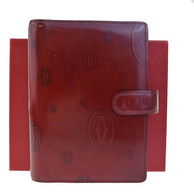 Authentic CARTIER Happy Birthday Day Planner Note Cover Leather Bordeaux 01BA735