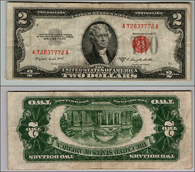 (1)-1953B  Series United States Note Red Seal $2 Two Dollar Bill  LOT Z943