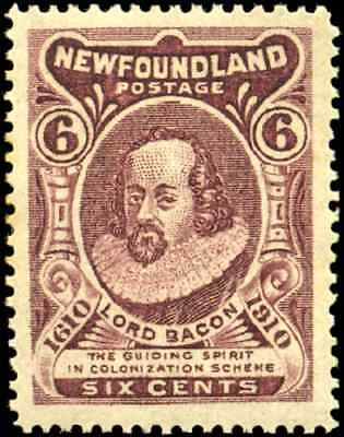 Newfoundland #98 mint XF OG H 1911 John Guy Issue 6c brown violet Lord Bacon
