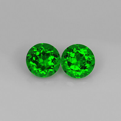 5.05 Ct Chrome Green Natural Moldavite Faceted 9Mm Pair Round Cut Loose Gemstone