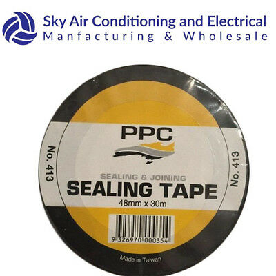 ROLL PPC DUCT TAPE 48mmX30m BLACK TAPE HEAVY DUTY/HOUSEHOLD USE