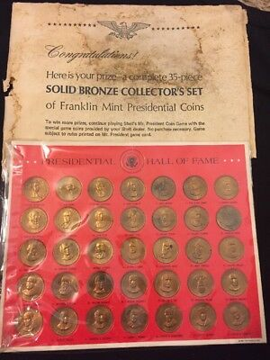 1968 Shell Oil Company Mr President Coin Game Franklin Mint Bronze Tokens Prize