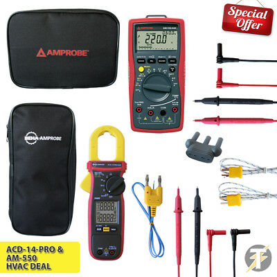 AMPROBE acd-14-pro TRMS HVAC Morsetto MULTIMETRO E am-550 DIGITALE KIT