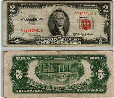 (1)-1953B  Series United States Note Red Seal $2 Two Dollar Bill  LOT P74