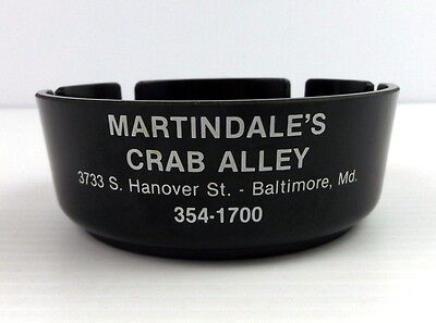 Vintage Ashtray Martindale's Crab Alley Hanover St. Baltimore MD Black Ashtray